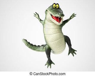 vertolking, krokodil, springt, joy., spotprent, 3d