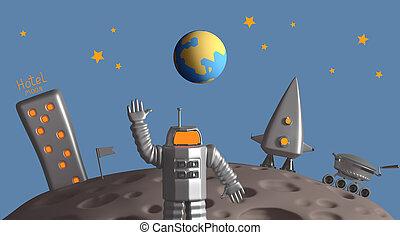 vertolking, moon., programma, exploratie, 3d