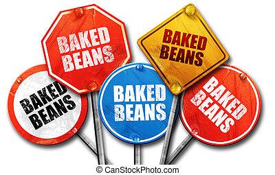 vertolking, straat tekeent, bonen, bakt, 3d
