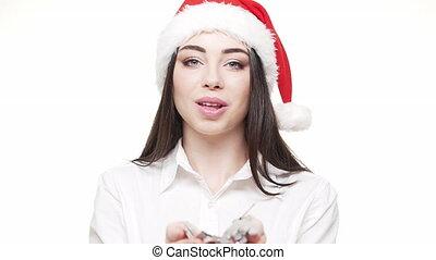 vertragen, businesswoman, jonge, zilver, motie, vieren, year., blazen, aantrekkelijk, confetti, nieuw, kerstmis