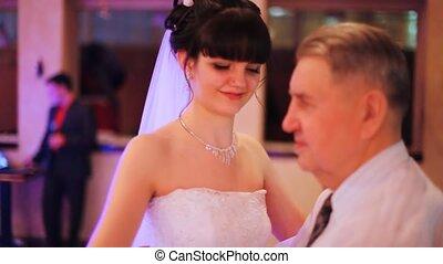 vertragen, dochter, dans, vader, dansen, trouwfeest, zijn