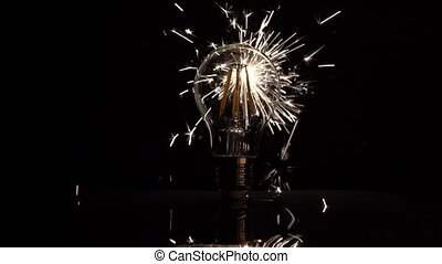 vertragen, geleide, licht, motion., -, achter, sparkler, bol