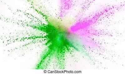 vertragen, kleurrijke, motion., het exploderen, black , poeder, achtergrond, fantastisch