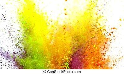 vertragen, kleurrijke, motion., het exploderen, poeder, achtergrond, witte , fantastisch
