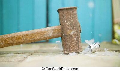 vertragen, licht, breuken, motie, bol, hamer, grond