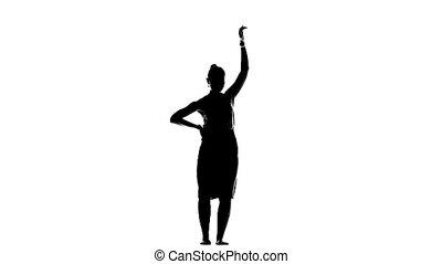 vertragen, silhouette, dancing, motie, dansers, witte , meisje, latino, sociaal