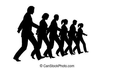 vertragen, silhouette, zakenlui, motie, looping, 6, het marcheren