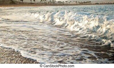 vertragen, zon, oceaan, motie, verbazend, video, rays., zee,...