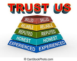 vertrauen, begriff, pyramide, uns, 3d