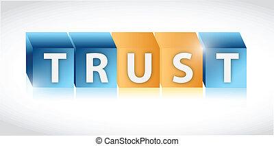 vertrauen, design, uns, abbildung, würfel