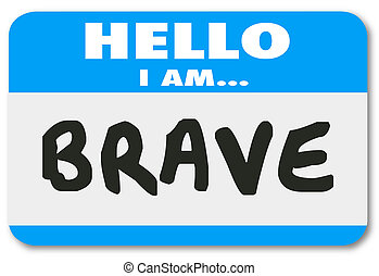 vertrauen, mutiges , name, furchtlos, aufkleber, etikett, ...