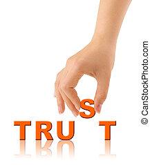 vertrauen, wort, hand