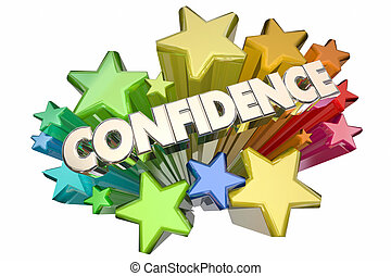 vertrauen, wort, versichert, sicher, selbst, abbildung, sternen, 3d