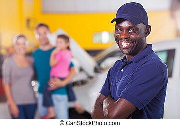 vertrauenswürdig, auto mechaniker, front, familie