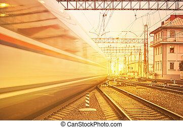 vertrek, van, hoge snelheid, train.