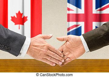 vertreter, von, kanada, und, der, vereinigtes königreich, schütteln hände