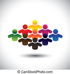 vertritt, grafik, begriff, gruppe, bunte, leute, studenten, formung, abstrakt, heiligenbilder, -, gemeinschaft, oder, auch, farben, arbeiter, verschieden, vector., angestellte, kinder, geschäftsführung