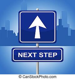 vertritt, progression, zeichen, treten, anzeige, nächste