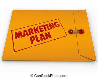 vertrouwelijk, marketing, enveloppe, strategie, geheim, plan