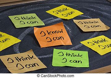 vertrouwen, concept, zelf, -, groenteblik, weten