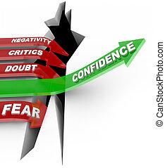 vertrouwen, geloven, in, je, niet, luisteren aan, negatief,...