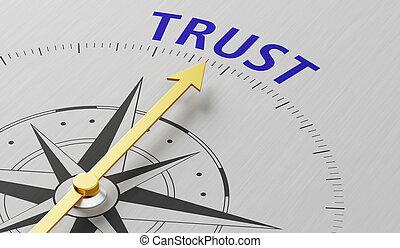 vertrouwen, naald, woord, wijzende, kompas
