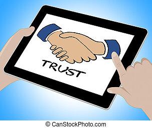vertrouwen, online, vertegenwoordigt, www, geloof, en,...