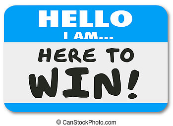vertrouwen, winnen, sticker, nametag, hier, besluit, hallo