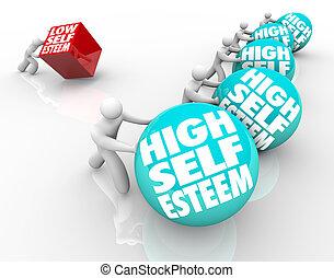 vertrouwen, zelf, vs, hoog, houding, hardloop, laag,...