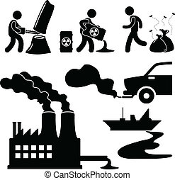 verunreinigung, global, grün, wärmen, ikone