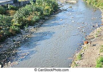 verunreinigung, kanal, in, kathmandu, nepal.