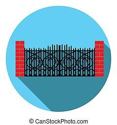 vervaardigd-ijzer, beeld, vector, poort