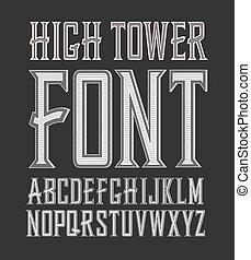 vervaardigd, ouderwetse , etiket, hoog, vector, font., toren, handig