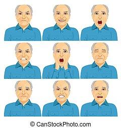 vervaardiging, anders, volwassene, man, verzameling, gezicht, senior, uitdrukkingen, zes, kaal