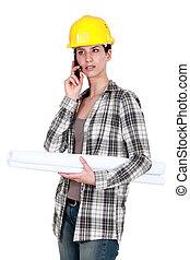 vervaardiging, belangrijk, architect, vrouwlijk, roepen