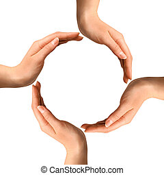 vervaardiging, cirkel, handen