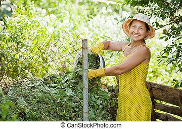 vervaardiging, compost, tuinman