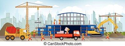 vervaardiging, de, nieuw, gebouw, (shopping, center)