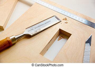 vervaardiging, een, component, van, hout, meubel