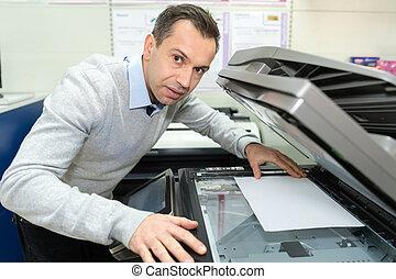 vervaardiging, fotokopie, zakenman