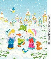 vervaardiging, gekke , kleine kinderen, sneeuwpop