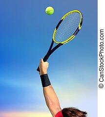 vervaardiging, het tennis dient, man