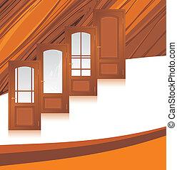 vervaardiging, houten, deuren