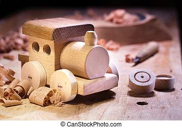 vervaardiging, houten speelgoed