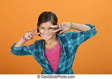 vervaardiging, klein meisje, gebaar, hand