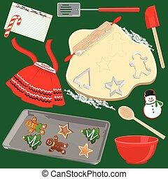 vervaardiging, koekjes, bakken, kerstmis