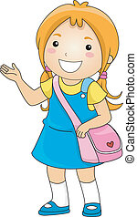 vervaardiging, meisje, presentatie, student