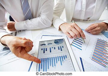 vervaardiging, rapport, op, statistiek