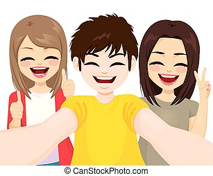 vervaardiging, selfie, tieners, gekke