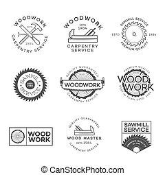 vervaardiging, set, elements., dienst, houtwerk, vector,...